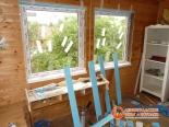 Один из этапов установки окна на веранде