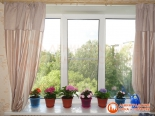 Цветы на подоконнике установленного окна