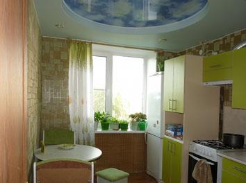 Фото двухуровнего натяжного потолка на кухне